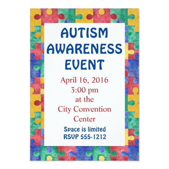 Autism Awareness puzzle invitation announcement