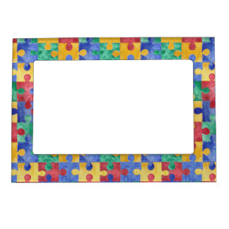 Autism Awareness puzzle magnetic frame