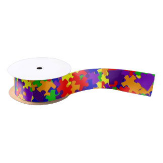 Autism Awareness Puzzle Piece Ribbon Satin Ribbon