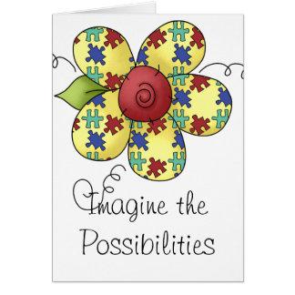 Autism Awareness Puzzle Pieces Flower Design Greeting Card