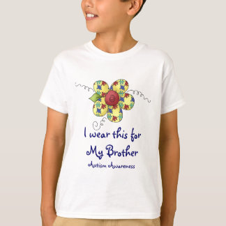 Autism Awareness Puzzle Pieces Flower Design T-Shirt