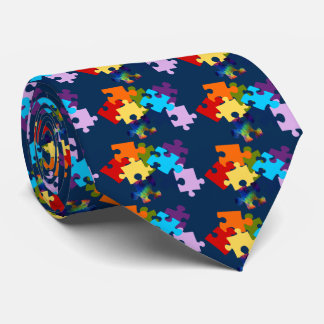 Autism Awareness Puzzle Pieces Tie