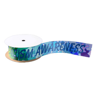 Autism Awareness Puzzle Ribbon Satin Ribbon
