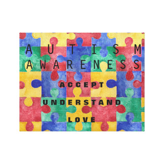 Autism Awareness puzzle wrapped canvas Gallery Wrapped Canvas