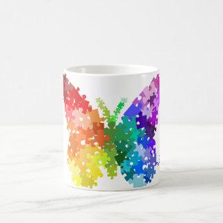 Autism Awareness Rainbow Puzzle Butterfly Basic White Mug