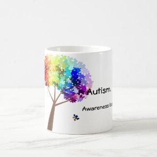 Autism Awareness Rainbow Puzzle Tree Basic White Mug