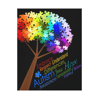 Autism Awareness Rainbow Puzzle Tree with Words Canvas Print