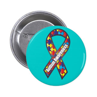 Autism Awareness Ribbon 6 Cm Round Badge