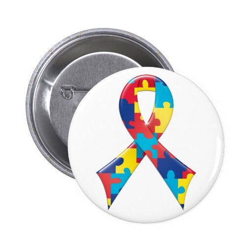 Autism Awareness Ribbon A4 6 Cm Round Badge
