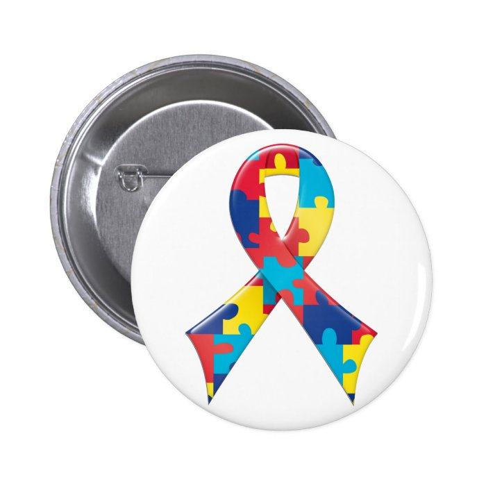 Autism Awareness Ribbon A4 6 Cm Round Badge