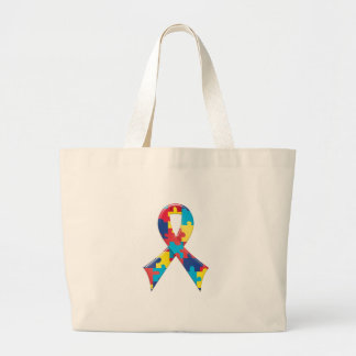 Autism Awareness Ribbon A4 Large Tote Bag