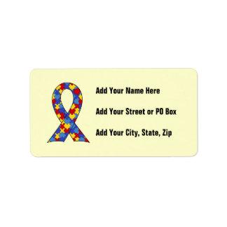 Autism Awareness  Ribbon Address Label