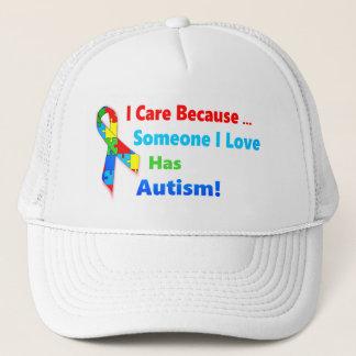 Autism awareness ribbon design trucker hat