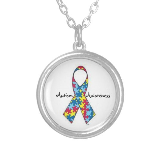 Autism Awareness ribbon necklace