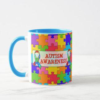 Autism Awareness Ribbon Puzzle Pieces Mug
