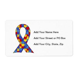 Autism Awareness  Ribbon Shipping Label