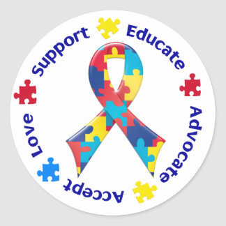Autism Awareness Round Sticker