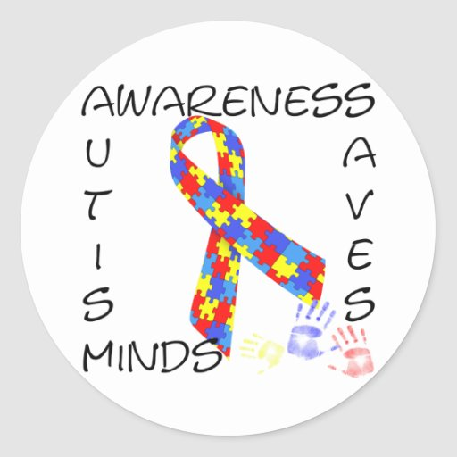 Autism Awareness Saves Minds Round Stickers