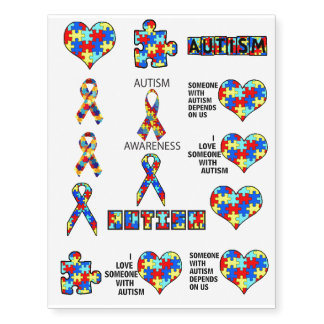 Autism Awareness Support Advocacy Educate Temporary Tattoos