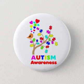 Autism awareness tree 6 cm round badge