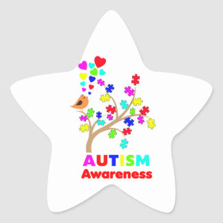 Autism awareness tree star sticker