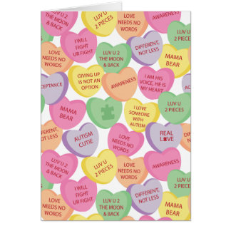 Autism Awareness Valentine Heart Candy Sayings Greeting Card