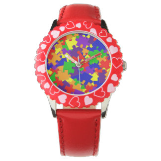 Autism Awareness watch with Rainbow Puzzle Pieces