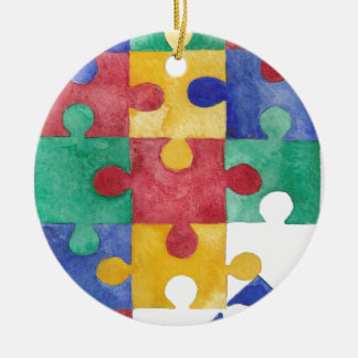 Autism Awareness watercolor puzzle Christmas Ornament