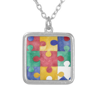Autism Awareness watercolor puzzle necklace