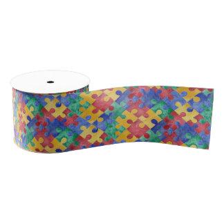 Autism Awareness watercolor puzzle ribbon Grosgrain Ribbon