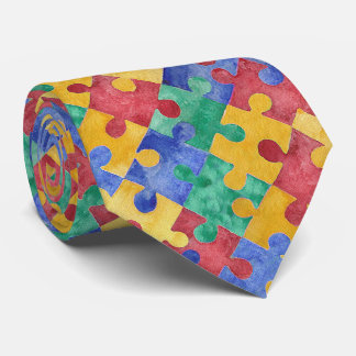 Autism Awareness watercolor puzzle tie