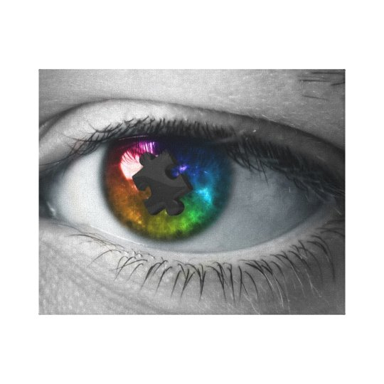 Autism Awareness Wrapped Canvas Multicolor Eye