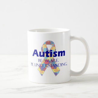 Autism be aware be understanding basic white mug