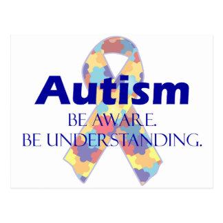 Autism be aware be understanding postcard