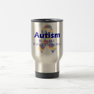 Autism be aware be understanding stainless steel travel mug