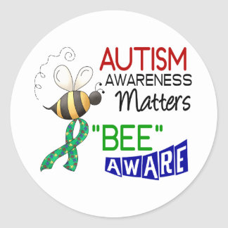 Autism BEE AWARE 1 Round Sticker