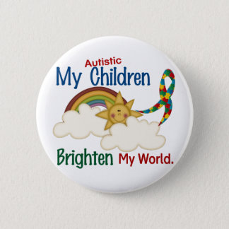 Autism BRIGHTEN MY WORLD 1 Children 6 Cm Round Badge