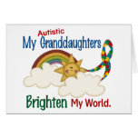 Autism BRIGHTEN MY WORLD 1 Granddaughters Greeting Cards
