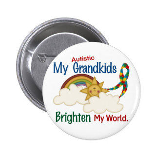 Autism BRIGHTEN MY WORLD 1 Grandkids 6 Cm Round Badge