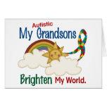 Autism BRIGHTEN MY WORLD 1 Grandsons Greeting Card