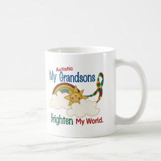 Autism BRIGHTEN MY WORLD 1 Grandsons Basic White Mug