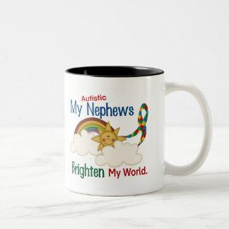 Autism BRIGHTEN MY WORLD 1 Nephews Mugs