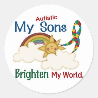 Autism BRIGHTEN MY WORLD 1 Sons Round Sticker