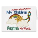 Autism BRIGHTENS MY WORLD 1 Children 2 Greeting Card