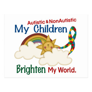 Autism BRIGHTENS MY WORLD 1 Children 2 Postcard