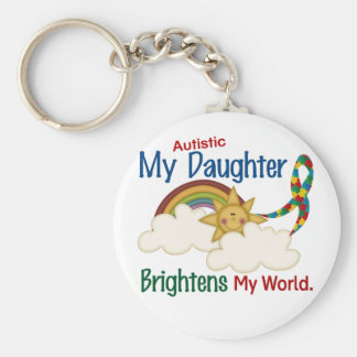 Autism BRIGHTENS MY WORLD 1 Daughter Basic Round Button Key Ring