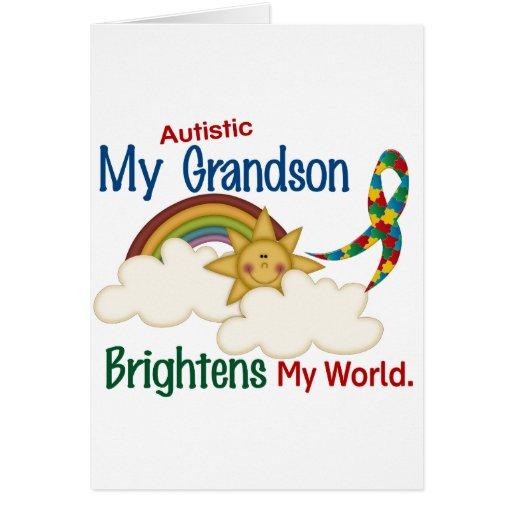 Autism BRIGHTENS MY WORLD 1 Grandson Greeting Cards