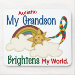 Autism BRIGHTENS MY WORLD 1 Grandson Mousepads