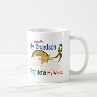 Autism BRIGHTENS MY WORLD 1 Grandson Basic White Mug