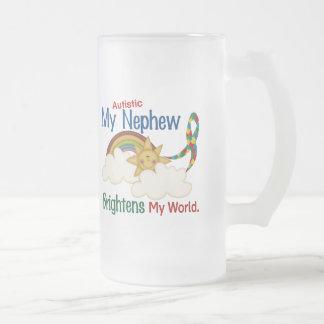 Autism BRIGHTENS MY WORLD 1 Nephew Frosted Glass Mug